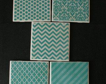 "Patterns Ceramic Coasters 4.25"" x 4.25"" - Set of 5"