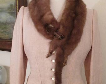 Vintage Mink Stole, 1940's Dark Mink Stole, Fur Stole, Vintage Fur