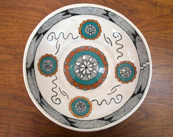Vintage Genevieve Golsh Ceramic Bowl - Indian Pueblo Pottery - Native American Art - 1953