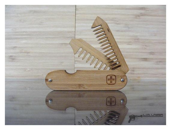 Bamboo Beard Comb Bamboo Comb Swiss Army