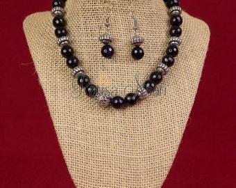 Navy blue jade necklace set