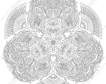 Lion Head Coloring Pages For Adults. Lion Head  2 Coloring Pages Animal coloring book pages for Adults page Etsy