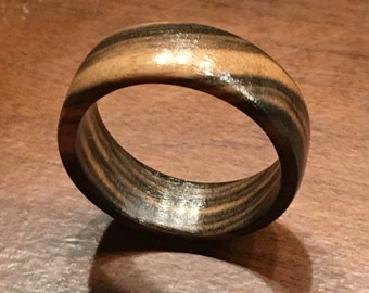 Hand Crafted black and white Ebony ring