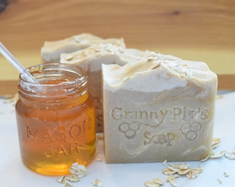 Oatmeal,Coconut MIlk, and Honey Hand Crafted Soap/ Handmade soap