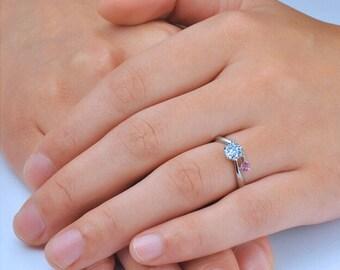 Round Cut Diamond Engagement Ring 14k White Gold or Yellow Gold Split Shank Diamond Ring Art Deco Anniversary Ring