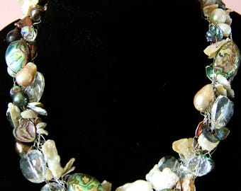 Cambria Necklace: Hand Crochet Abalone & Fresh Water Pearl