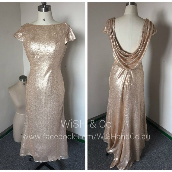 Items Similar To Champagne Gold Sequin Cowl Back Long