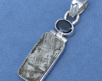 Gibeon Meteorite & Black Onyx Pendant - Sterling Silver - P152608 -  Free Shipping to the USA