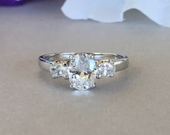 Women's Engagement Ring Oval Simulated Diamond Ring  Sterling Silver Oval Simulated Diamond Stone Solitaire Engagement And Promise Ring