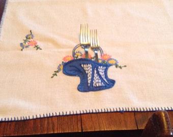 Vintage Embroidered Tablecloth  - Blue Flower Baskets