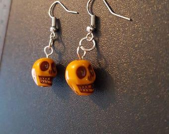 Yellow acrylic skull beaded drop dangle earrings with silver detail