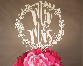 Mr. & Mrs. Wood Wedding Cake Topper | Mr Mrs Wooden Marriage Rustic Engagement Shower Bridal
