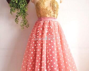 pink tea length tutu tulle skirt, polka dot tulel skirt, bridesmaid tulle skirt