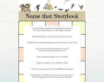 Name that Storybook Game, Storybook Baby Shower Printable, 5x7 DIGITAL FILE