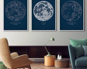 Star maps, Framed art set of 3, Star maps, Star chart print, Constellations chart, Moon print, Start charts, Moon poster, Constellation art
