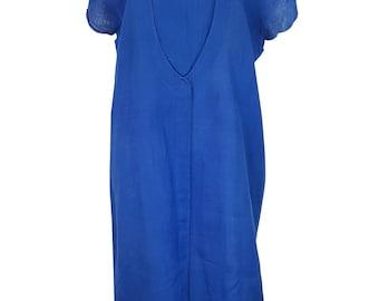 GUCCI Vintage Blue Linen Shift Dress (44)