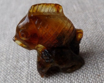 2,55gr. FISH Authentic Black Cognac Natural Real Hand Carved Baltic Amber Amulet