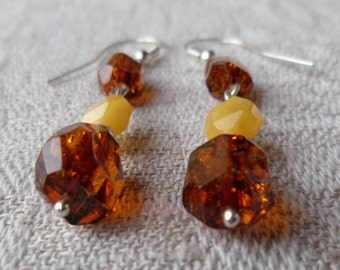 Genuine Baltic Amber Mixed Graduated Glittering Earrings 925 Sterling Silver Solid