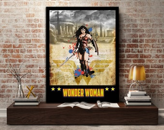 Wonder Woman, poster, print, justice league, lasso, DC, Super, Hero, gift, gift for her, gift for him, sword, shield, wall, art