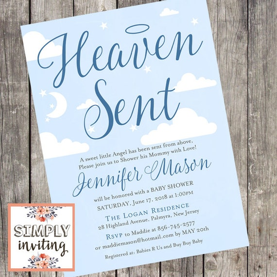 Heaven Sent Navy Baby Shower Invitation Printed Invitation
