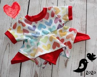Watercolour Hearts Shirt - 3 month