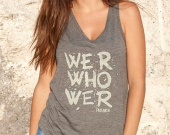 Super soft tank top We R Who We R //For women, coral and grey, Summer tee shirt
