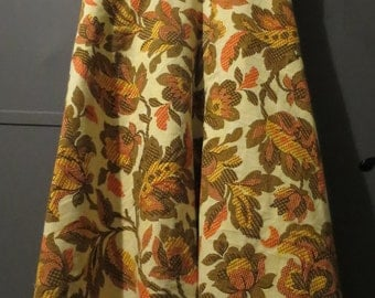 Handmade vintage inspired retro look skirt, knee length, floral, yellow, orange, brown, plus size, 60s 70s fuller figure party office cotton