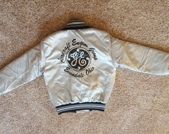Vintage 1980s General Electric GE Aircraft Engines Ohio Satin Jacket