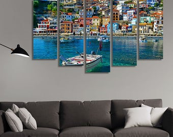 LARGE XL a Boat in Parga, Greece Canvas Print Summer Resort Holiday Canvas Clear Water Paradise Wall Art Print Home Decoration - Stretched