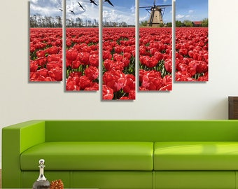 LARGE XL Holland Windmill in a Red Tulip Field Canvas Geese Flying in the Sky Wall Art Print Home Decoration - Framed and Stretched - 4005