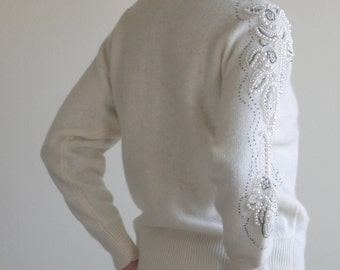 Pearl Embroidered Wool Crewneck Sweater