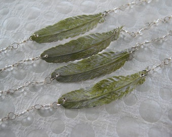 Feather Bracelet, Greens, Clear Beaded Chain, Wedding, Bridesmaids Gifts, Jr Bridesmaids, Gift for Her, Hand Crafted, Teens, Girls Gift/G85