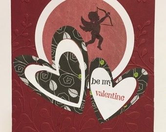 Deep Red Cupid Be My Valentine Card with Embossed Background