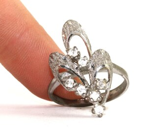 Vintage Floral Design Clear CZ Inlay Cocktail Ring 925 Sterling Silver RG 2221