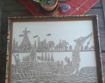 Vintage Thai Print with wooden frame