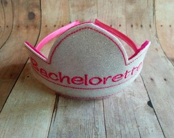 Bachelorette Headband Tiara, Choose From 24 Glitter Vinyl Colors, Coordinating Embroidery, Great For Bachelorette Parties, Bride to Be Gift