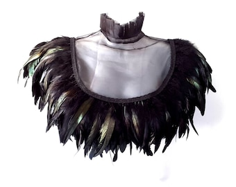 Black feather collar. Steampunk Victorian high collar cape with feather epaulettes. 'Victoriana'