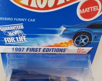 Hot Wheels 1997 First Editions #1 of 12 cars Firebird Funny Car Collector #509 - Die Cast Metal Parts - Premiere Collector's Model!