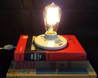 Recycled - Upcycled Stacked Book Lamp - Steampunk Industrial Lamps - Edison Style Bulb