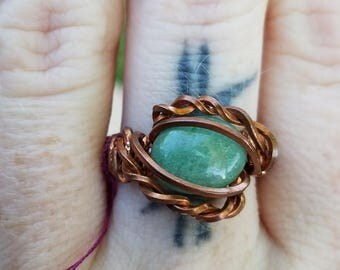Copper wrapped green aventurine ring, size 7