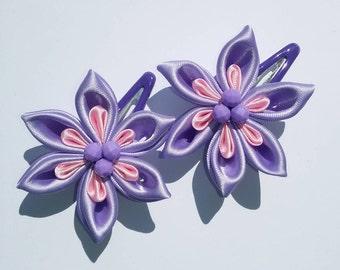 Violet and Light Pink Flower Hair Clip , Kanzashi Flower (1 Pair)