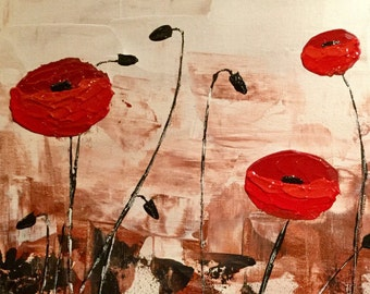 Acrylic painting - red poppies table