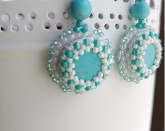 Turquoise and Pearl Seed Bead Embroidered Earrings