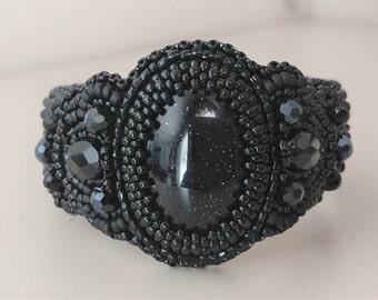 Black on Black Sand Stone Cuff Bracelet
