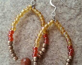 Sandstone, loop, dangle earrings, with glass beads, yellow, orange, bronze, boho, beachy, sandstone