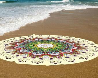 Yellow Cotton bath towels, Beach round towels, Round yoga mats, Boho beach spread towel