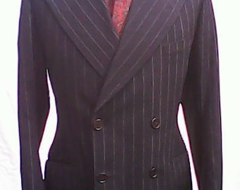 Black Pinstriped 1930s Tailored Jacket.