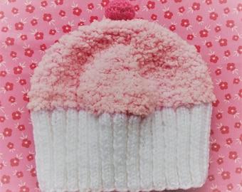 Handknitted cupcake baby hat