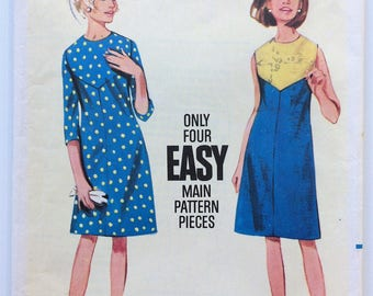 Vintage 1960's Butterick sewing pattern 4186 - Misses' Semi-fitted A-line dress