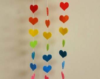 rainbow baby mobile, cloud and hearts felt baby mobile, baby shower gift, nursery decor, baby gift